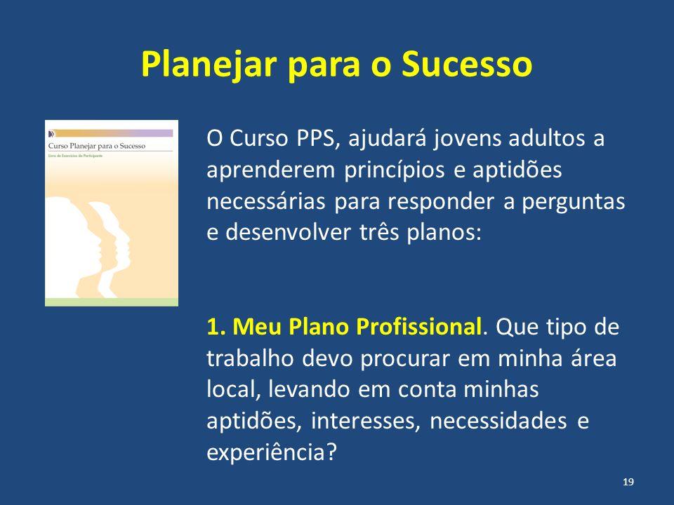 Planejar para o Sucesso O Curso PPS, ajudará jovens adultos a aprenderem princípios e aptidões necessárias para responder a perguntas e desenvolver tr