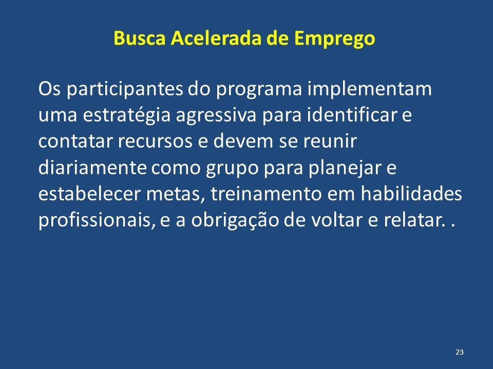 Os participantes do programa implementam uma estratégia agressiva para identificar e contatar recursos e devem se reunir diariamente como grupo para p