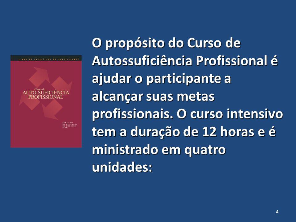 O propósito do Curso de Autossuficiência Profissional é ajudar o participante a alcançar suas metas profissionais. O curso intensivo tem a duração de