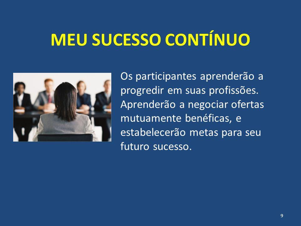 MEU SUCESSO CONTÍNUO Os participantes aprenderão a progredir em suas profissões. Aprenderão a negociar ofertas mutuamente benéficas, e estabelecerão m