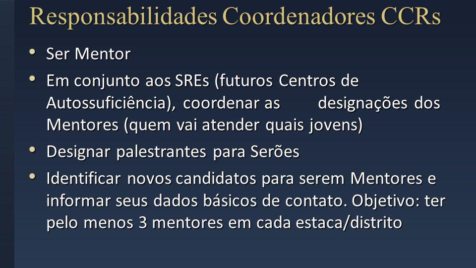 Responsabilidades Coordenadores CCRs Ser Mentor Ser Mentor Em conjunto aos SREs (futuros Centros de Autossuficiência), coordenar as designações dos Me