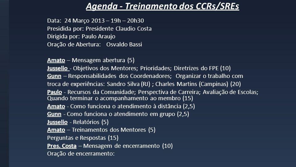 Agenda - Treinamento dos CCRs/SREs Data: 24 Março 2013 – 19h – 20h30 Presidida por: Presidente Claudio Costa Dirigida por: Paulo Araujo Oração de Aber