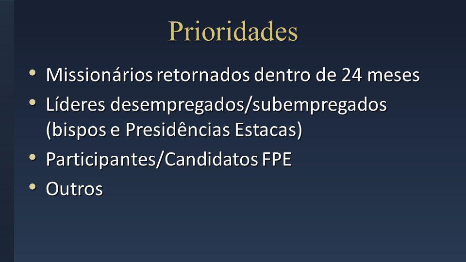 Prioridades Missionários retornados dentro de 24 meses Missionários retornados dentro de 24 meses Líderes desempregados/subempregados (bispos e Presid