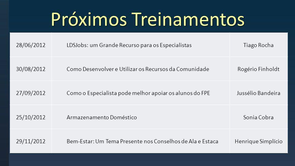 Próximos Treinamentos 28/06/2012LDSJobs: um Grande Recurso para os EspecialistasTiago Rocha 30/08/2012Como Desenvolver e Utilizar os Recursos da Comun