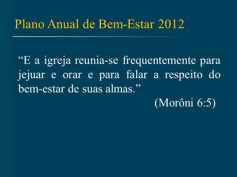 Plano Anual de Bem-Estar 2012 E a igreja reunia-se frequentemente para jejuar e orar e para falar a respeito do bem-estar de suas almas.