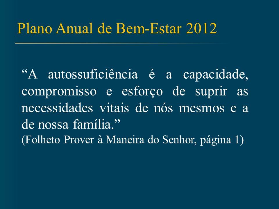 Plano Anual de Bem-Estar 2012 A autossuficiência é a capacidade, compromisso e esforço de suprir as necessidades vitais de nós mesmos e a de nossa família.