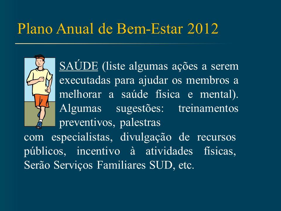 Plano Anual de Bem-Estar 2012 ARMAZENAMENTO DOMÉSTICO (liste algumas ações a serem executadas para ensinar e incentivar os membros a fazer armazenamento doméstico).