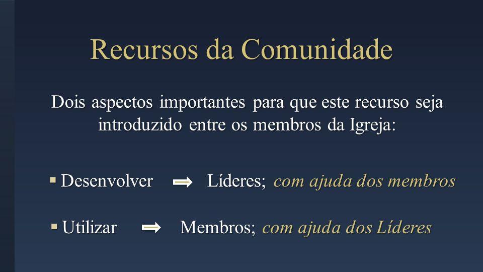 Utilizar Membros; com ajuda dos Líderes Utilizar Membros; com ajuda dos Líderes Desenvolver Líderes; com ajuda dos membros Desenvolver Líderes; com aj