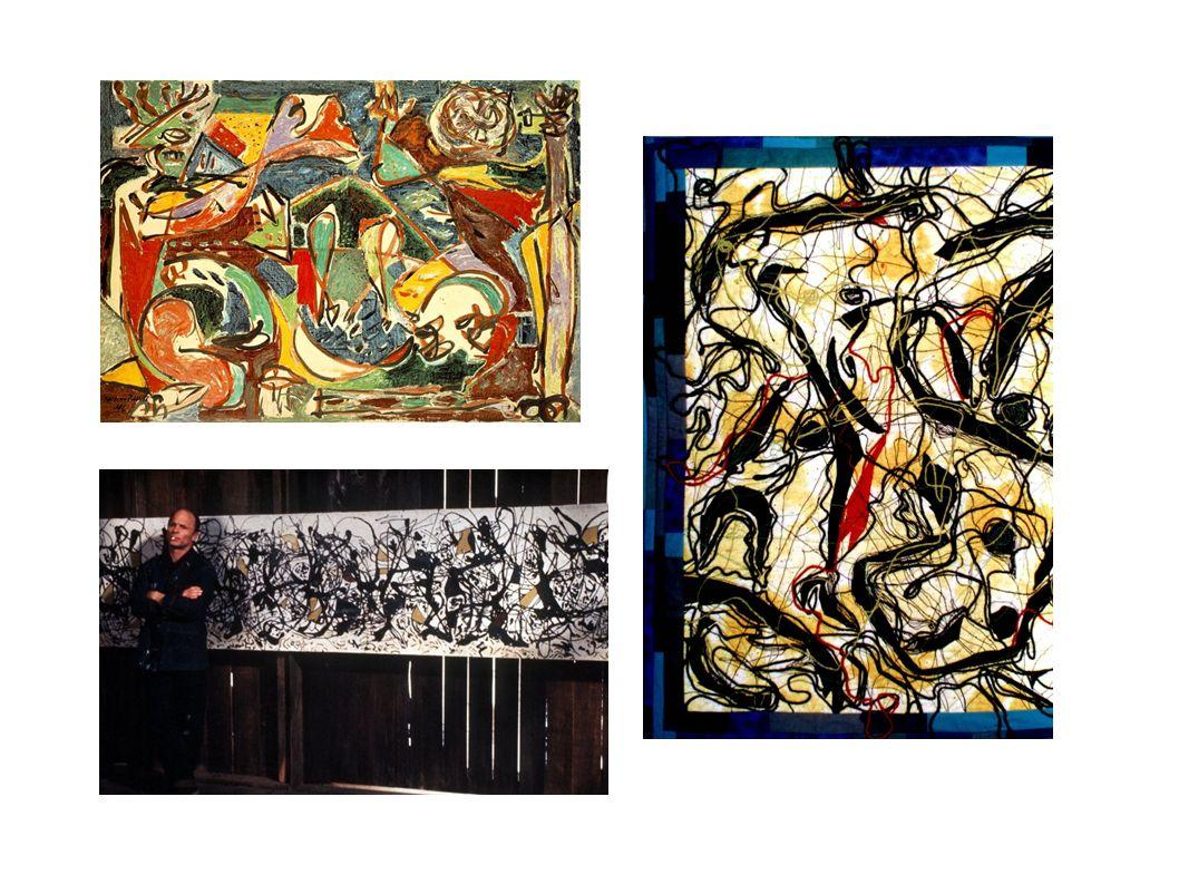 Jackson Pollock Entre 1938 e 1948, deslocou-se para as preocupações da abstração dos anos 50 Obliterar a iconografia social Diminuir o significado socialmente simbólico e óbvio Guinada em direção a formas e ritmos da natureza, biomorfismo, mitos de origem, surrealismo e psicanálise junguiana Novo senso trágico