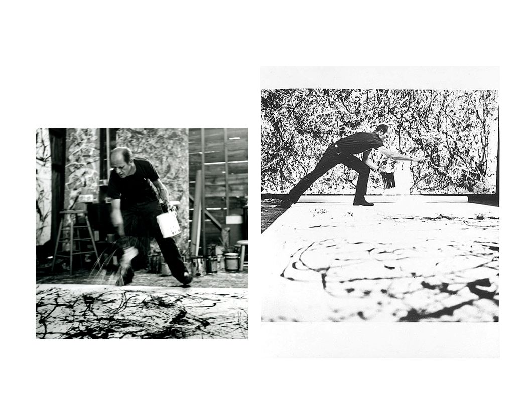 Jackson Pollock e Greenberg A abstraçãoi é o rumo para uma arte pós- representacional Há uma mudança do centro gravitacional da arte da Europa para os EUA NOVA FORMA GERAL DA ORGANIZAÇÃO PICTÓRICA Rejeição dos recursos narrativos e realistas Técnica do gotejamento (dripping) Uso da tele estendida no chão, fora do chassi e sem corte