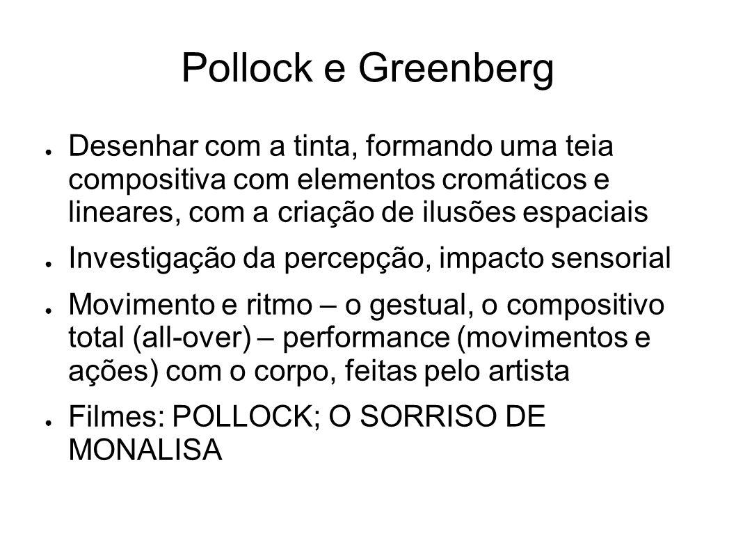 Pollock e Greenberg Desenhar com a tinta, formando uma teia compositiva com elementos cromáticos e lineares, com a criação de ilusões espaciais Invest
