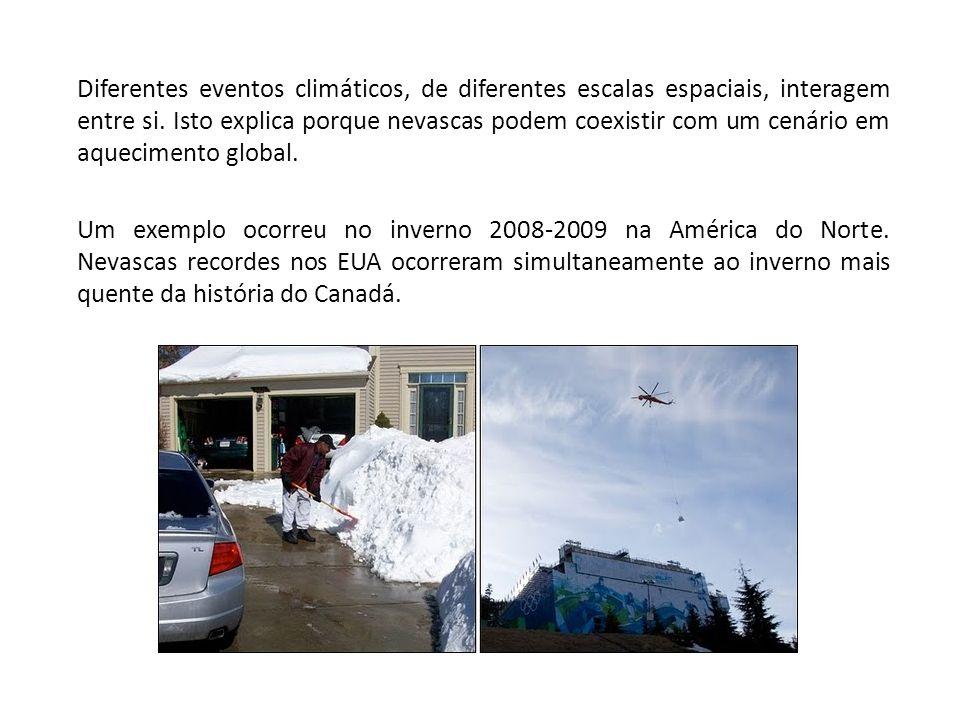 Diferentes eventos climáticos, de diferentes escalas espaciais, interagem entre si. Isto explica porque nevascas podem coexistir com um cenário em aqu