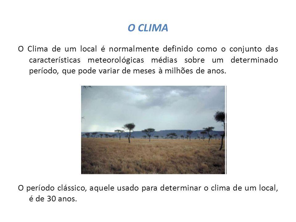O CLIMA O Clima de um local é normalmente definido como o conjunto das características meteorológicas médias sobre um determinado período, que pode va