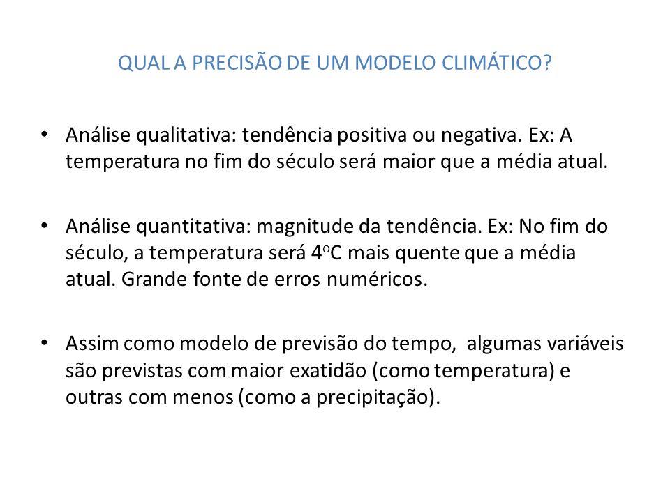 QUAL A PRECISÃO DE UM MODELO CLIMÁTICO? Análise qualitativa: tendência positiva ou negativa. Ex: A temperatura no fim do século será maior que a média
