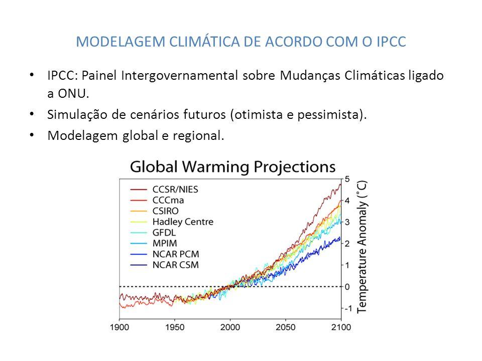 MODELAGEM CLIMÁTICA DE ACORDO COM O IPCC IPCC: Painel Intergovernamental sobre Mudanças Climáticas ligado a ONU. Simulação de cenários futuros (otimis