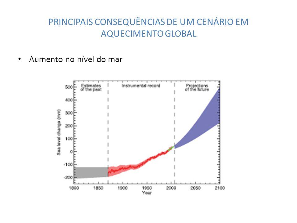 PRINCIPAIS CONSEQUÊNCIAS DE UM CENÁRIO EM AQUECIMENTO GLOBAL Aumento no nível do mar