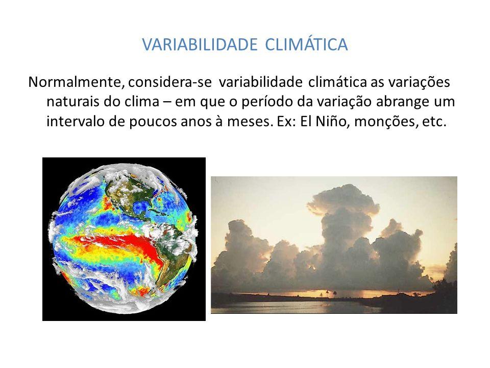 VARIABILIDADE CLIMÁTICA Normalmente, considera-se variabilidade climática as variações naturais do clima – em que o período da variação abrange um int
