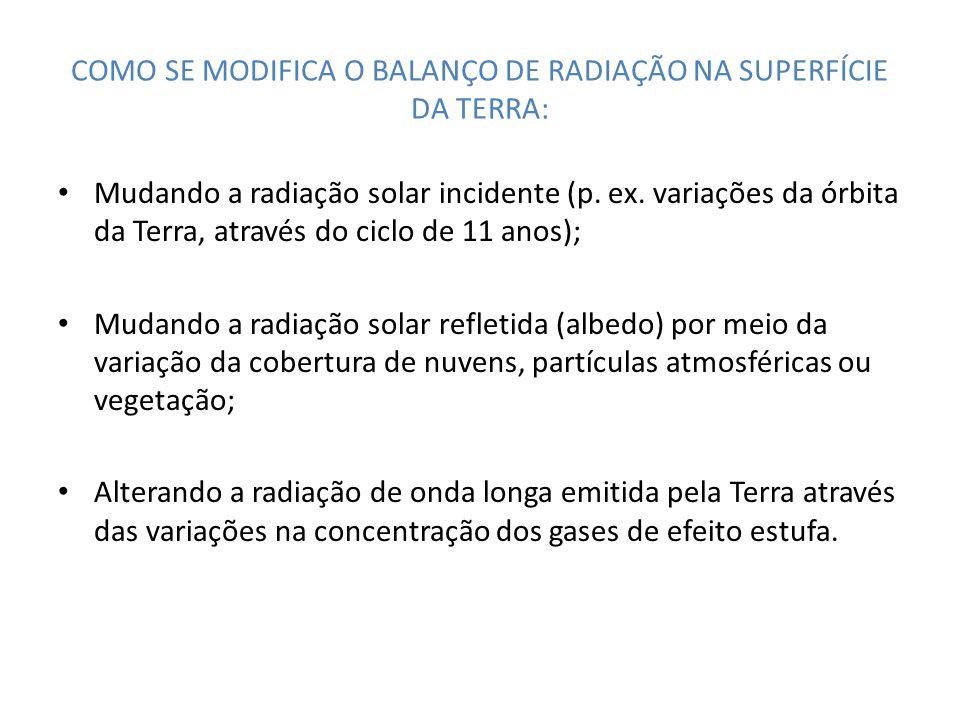 COMO SE MODIFICA O BALANÇO DE RADIAÇÃO NA SUPERFÍCIE DA TERRA: Mudando a radiação solar incidente (p. ex. variações da órbita da Terra, através do cic