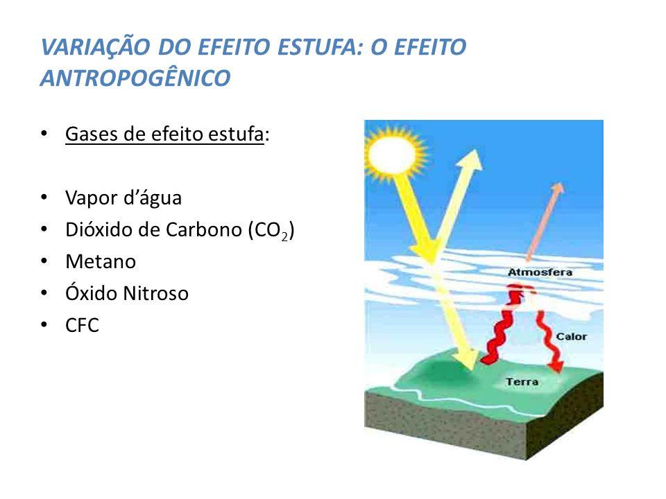 VARIAÇÃO DO EFEITO ESTUFA: O EFEITO ANTROPOGÊNICO Gases de efeito estufa: Vapor dágua Dióxido de Carbono (CO 2 ) Metano Óxido Nitroso CFC