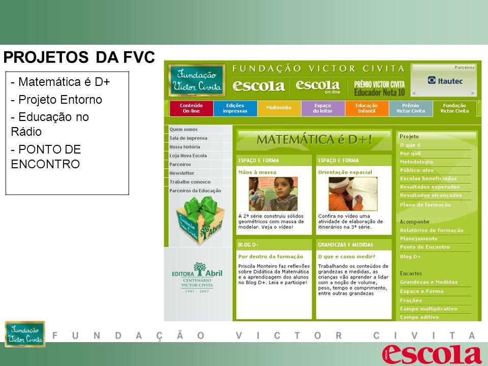 - Matemática é D+ - Projeto Entorno - Educação no Rádio - PONTO DE ENCONTRO PROJETOS DA FVC