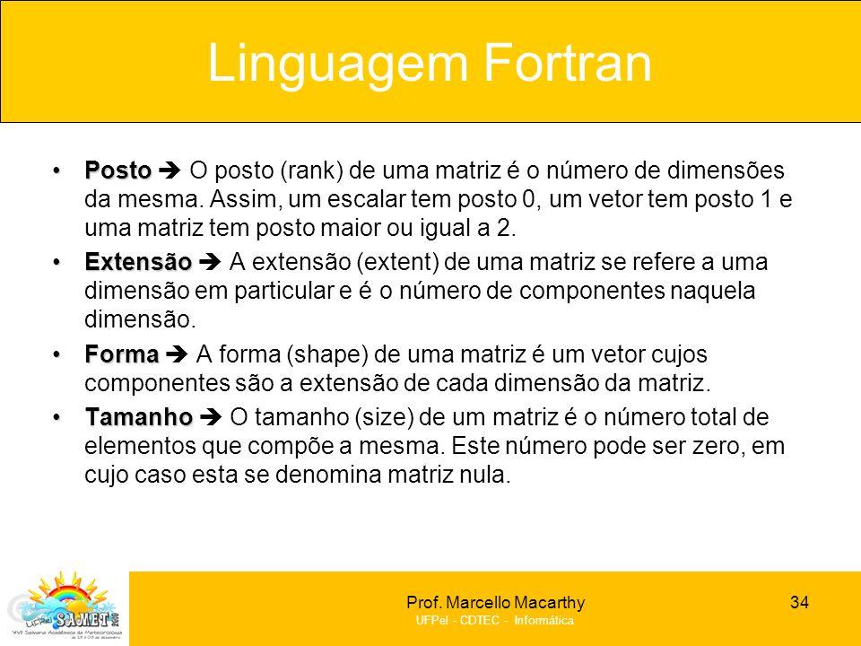 Prof. Marcello Macarthy UFPel - CDTEC - Informática PostoPosto O posto (rank) de uma matriz é o número de dimensões da mesma. Assim, um escalar tem po