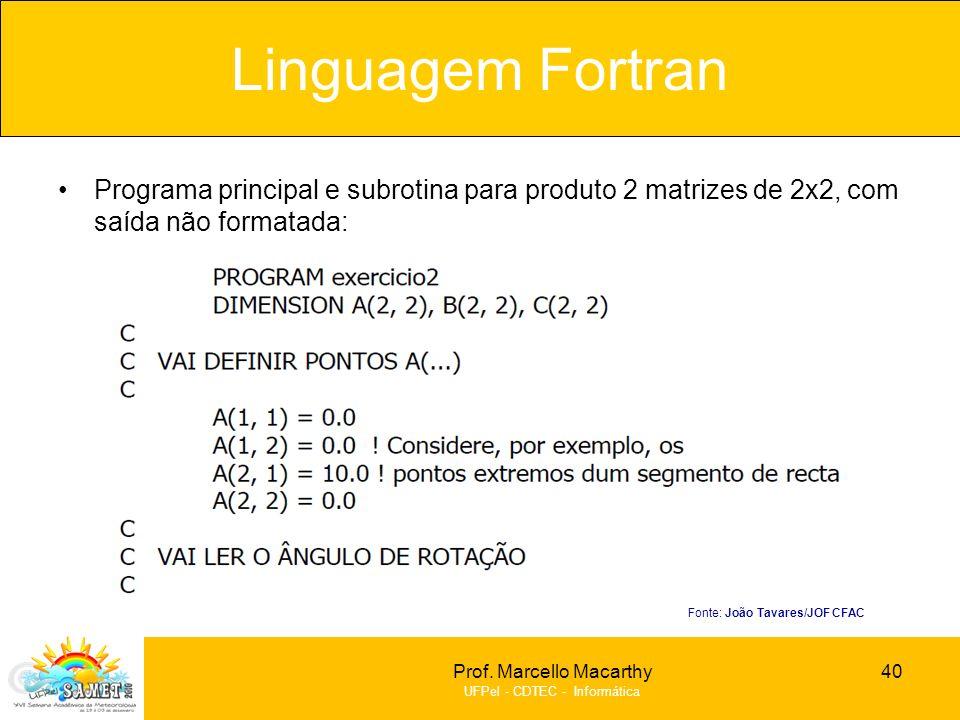 Prof. Marcello Macarthy UFPel - CDTEC - Informática Programa principal e subrotina para produto 2 matrizes de 2x2, com saída não formatada: Linguagem