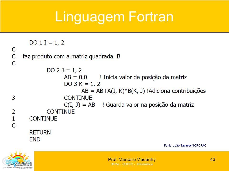Prof. Marcello Macarthy UFPel - CDTEC - Informática Linguagem Fortran 43 Fonte: João Tavares/JOF CFAC
