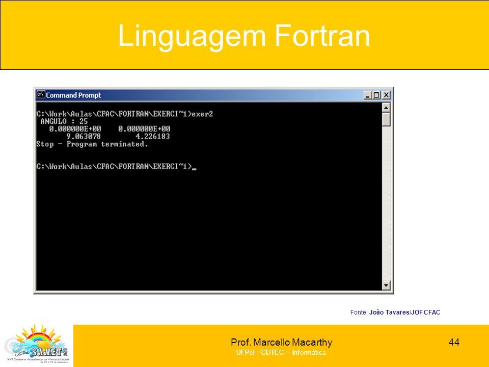 Prof. Marcello Macarthy UFPel - CDTEC - Informática Linguagem Fortran 44 Fonte: João Tavares/JOF CFAC