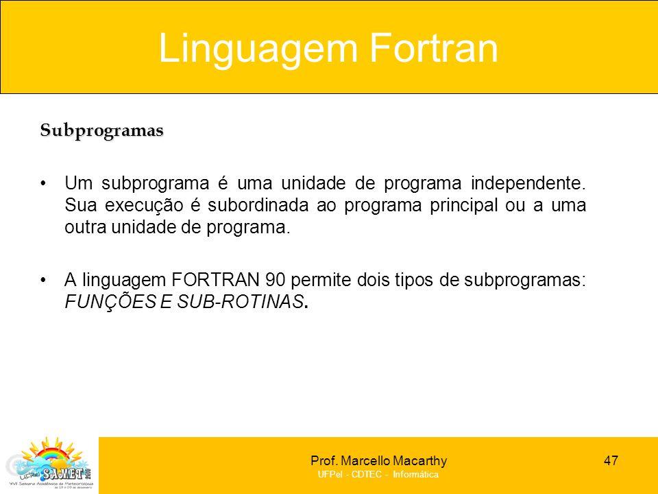 Prof. Marcello Macarthy UFPel - CDTEC - Informática Subprogramas Um subprograma é uma unidade de programa independente. Sua execução é subordinada ao