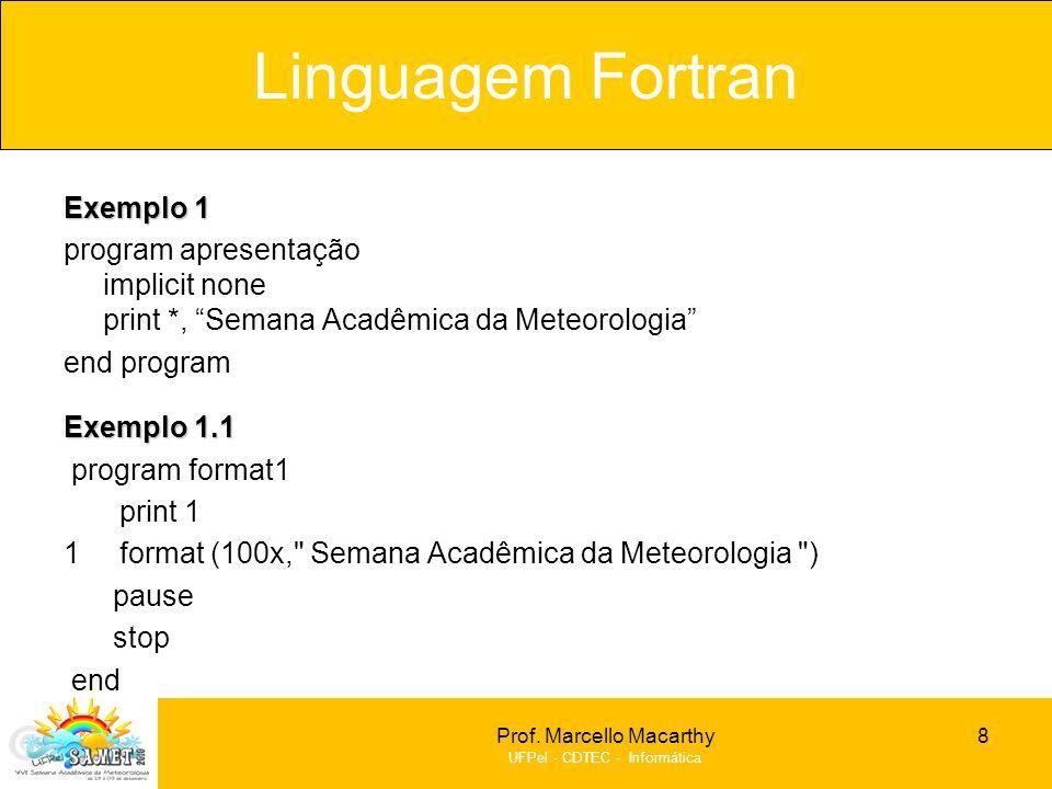 Prof. Marcello Macarthy UFPel - CDTEC - Informática Exemplo 1 program apresentação implicit none print *, Semana Acadêmica da Meteorologia end program