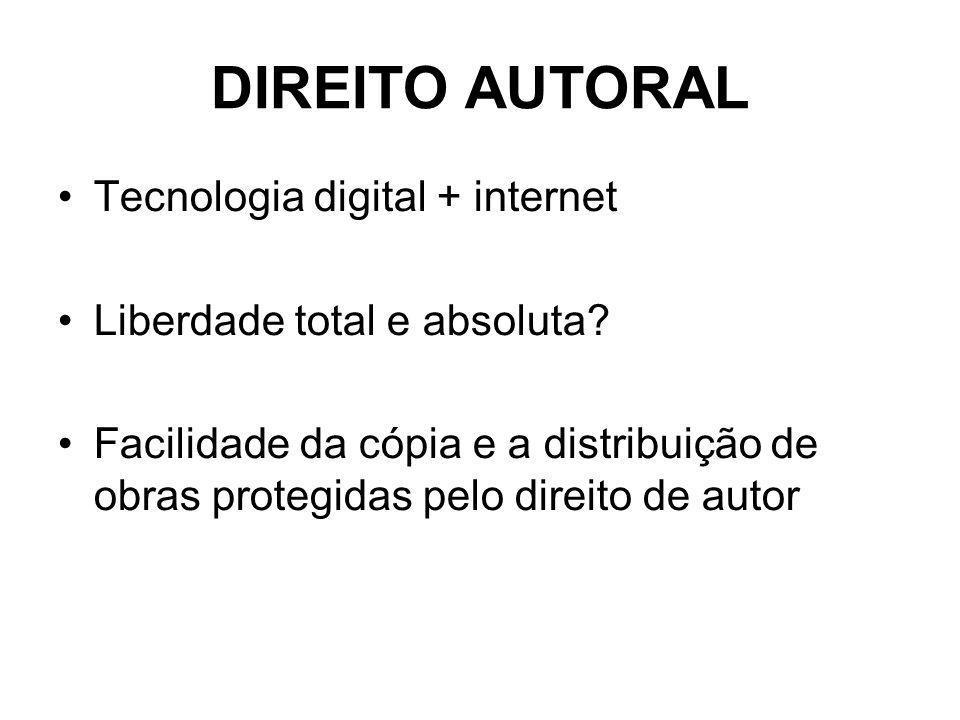 DIREITO AUTORAL Tecnologia digital + internet Liberdade total e absoluta.