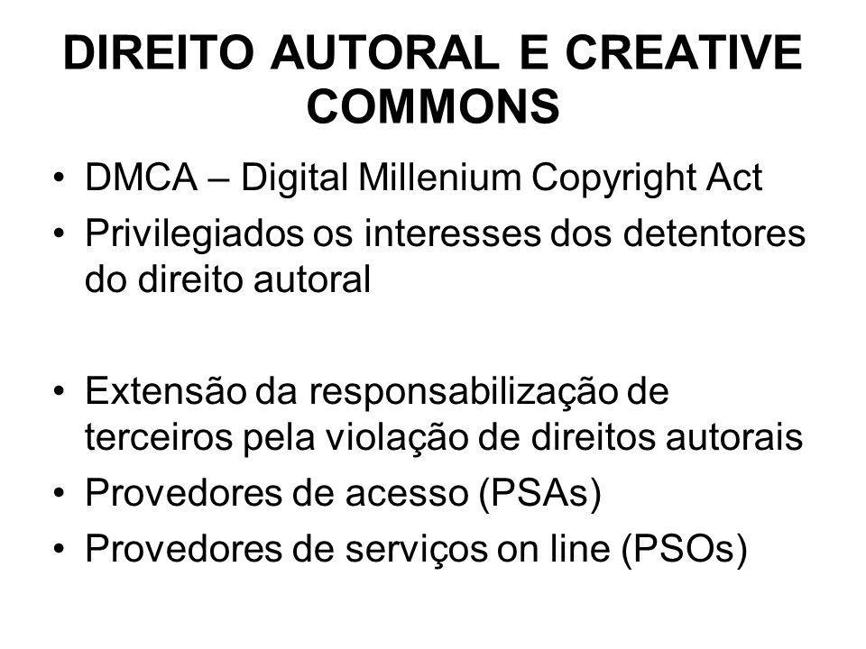 DIREITO AUTORAL E CREATIVE COMMONS DMCA – Digital Millenium Copyright Act Privilegiados os interesses dos detentores do direito autoral Extensão da re