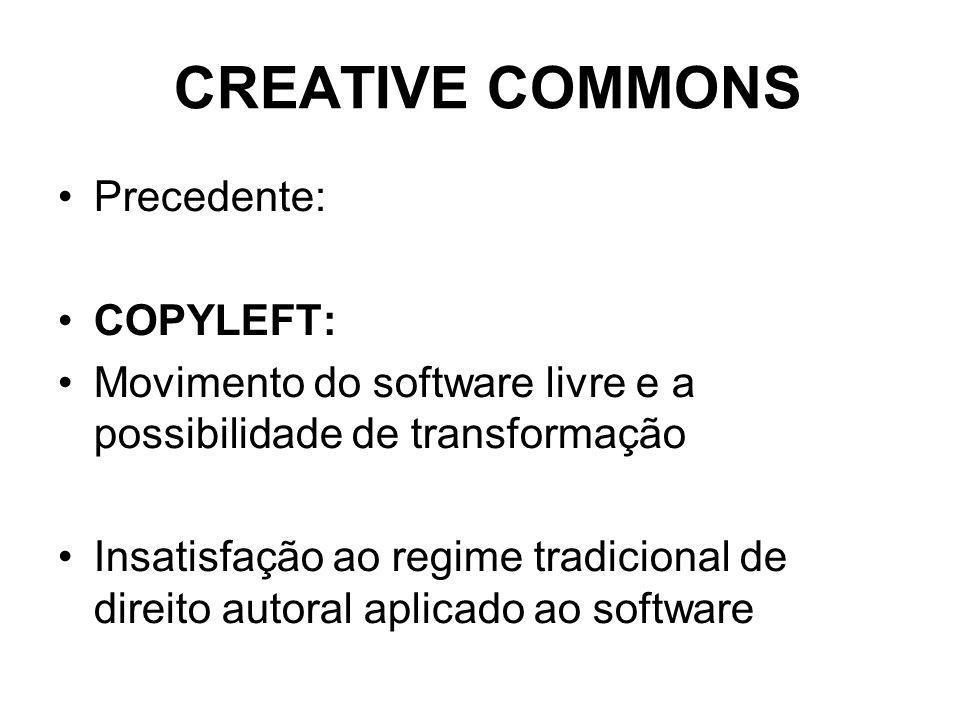 CREATIVE COMMONS Precedente: COPYLEFT: Movimento do software livre e a possibilidade de transformação Insatisfação ao regime tradicional de direito autoral aplicado ao software