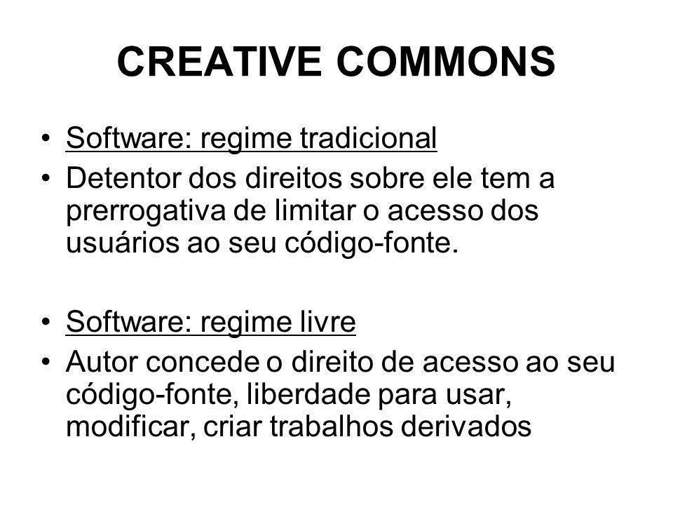 CREATIVE COMMONS Software: regime tradicional Detentor dos direitos sobre ele tem a prerrogativa de limitar o acesso dos usuários ao seu código-fonte.