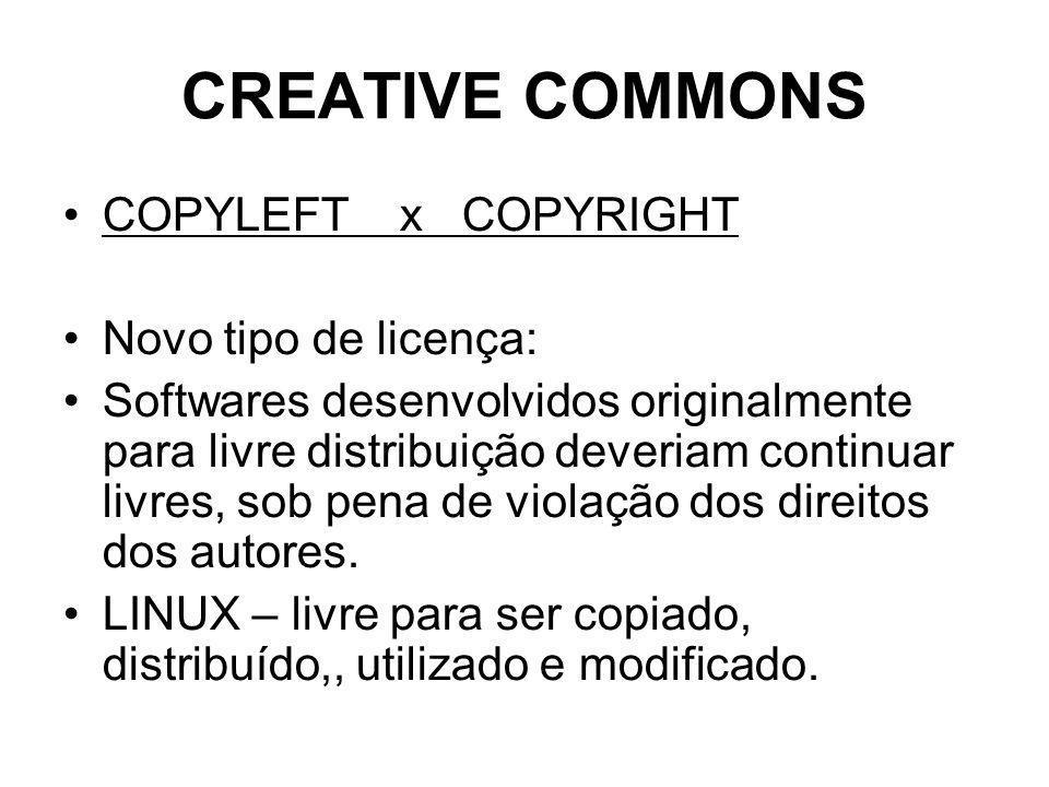 CREATIVE COMMONS COPYLEFT x COPYRIGHT Novo tipo de licença: Softwares desenvolvidos originalmente para livre distribuição deveriam continuar livres, sob pena de violação dos direitos dos autores.
