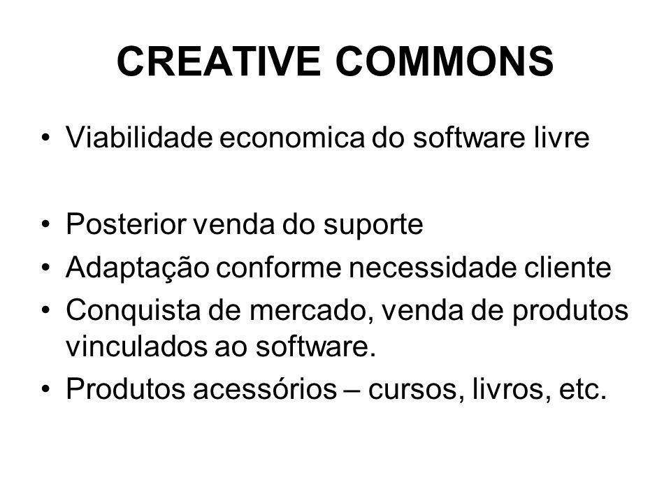 CREATIVE COMMONS Viabilidade economica do software livre Posterior venda do suporte Adaptação conforme necessidade cliente Conquista de mercado, venda de produtos vinculados ao software.