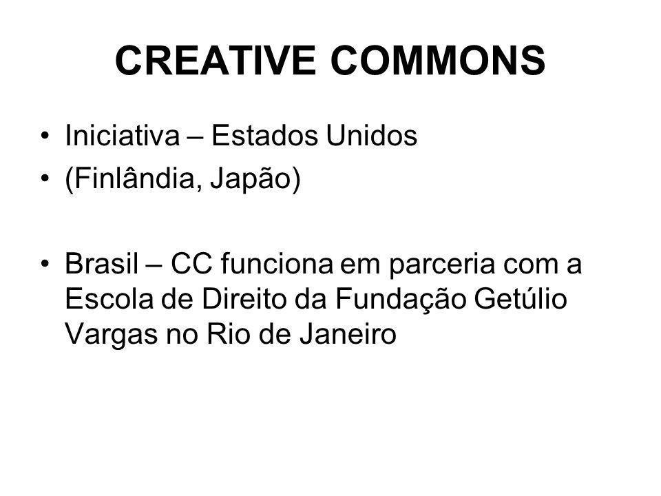 CREATIVE COMMONS Iniciativa – Estados Unidos (Finlândia, Japão) Brasil – CC funciona em parceria com a Escola de Direito da Fundação Getúlio Vargas no Rio de Janeiro