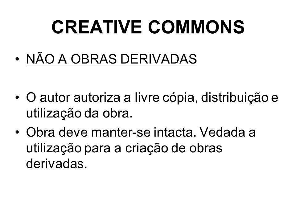 CREATIVE COMMONS NÃO A OBRAS DERIVADAS O autor autoriza a livre cópia, distribuição e utilização da obra.