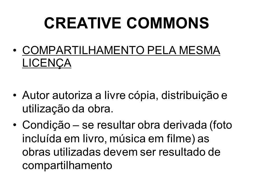 CREATIVE COMMONS COMPARTILHAMENTO PELA MESMA LICENÇA Autor autoriza a livre cópia, distribuição e utilização da obra.