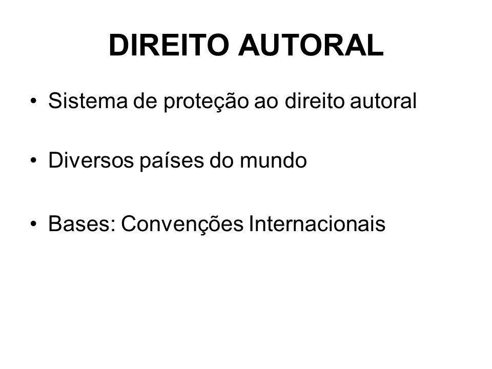DIREITO AUTORAL Sistema de proteção ao direito autoral Diversos países do mundo Bases: Convenções Internacionais