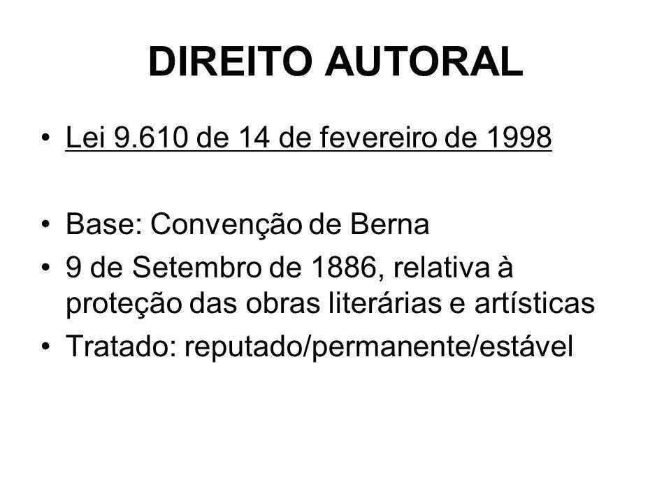 DIREITO AUTORAL Lei 9.610 de 14 de fevereiro de 1998 Base: Convenção de Berna 9 de Setembro de 1886, relativa à proteção das obras literárias e artísticas Tratado: reputado/permanente/estável