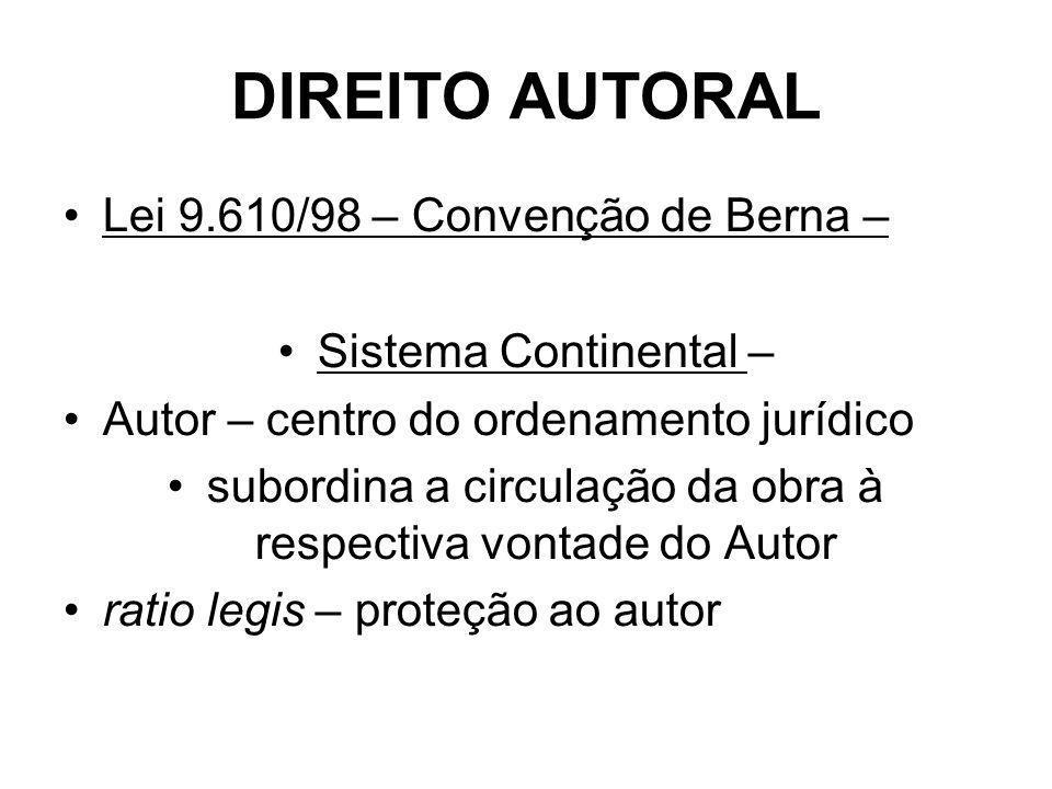 DIREITO AUTORAL Lei 9.610/98 – Convenção de Berna – Sistema Continental – Autor – centro do ordenamento jurídico subordina a circulação da obra à respectiva vontade do Autor ratio legis – proteção ao autor