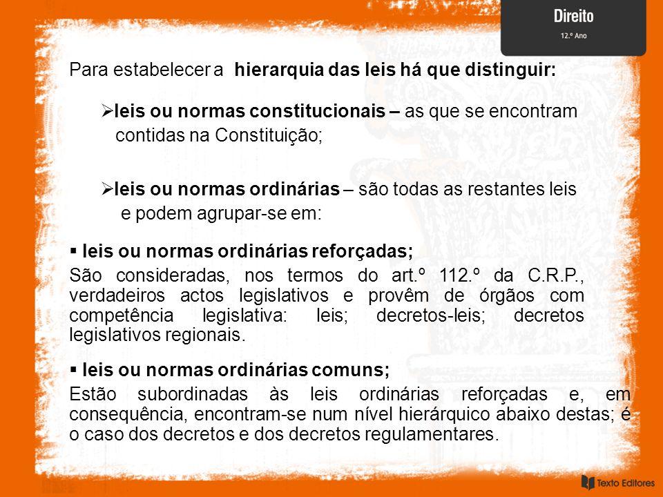 Para estabelecer a hierarquia das leis há que distinguir: leis ou normas constitucionais – as que se encontram contidas na Constituição; leis ou norma
