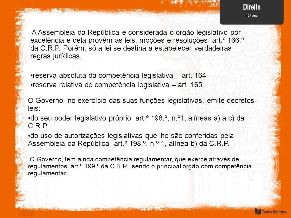 A Assembleia da República é considerada o órgão legislativo por excelência e dela provêm as leis, moções e resoluções  art.º 166.º da C.R.P. Porém, s