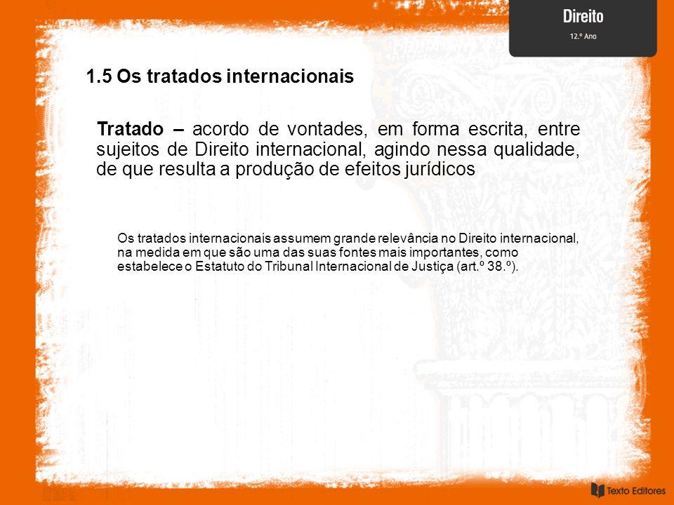 1.5 Os tratados internacionais Tratado – acordo de vontades, em forma escrita, entre sujeitos de Direito internacional, agindo nessa qualidade, de que