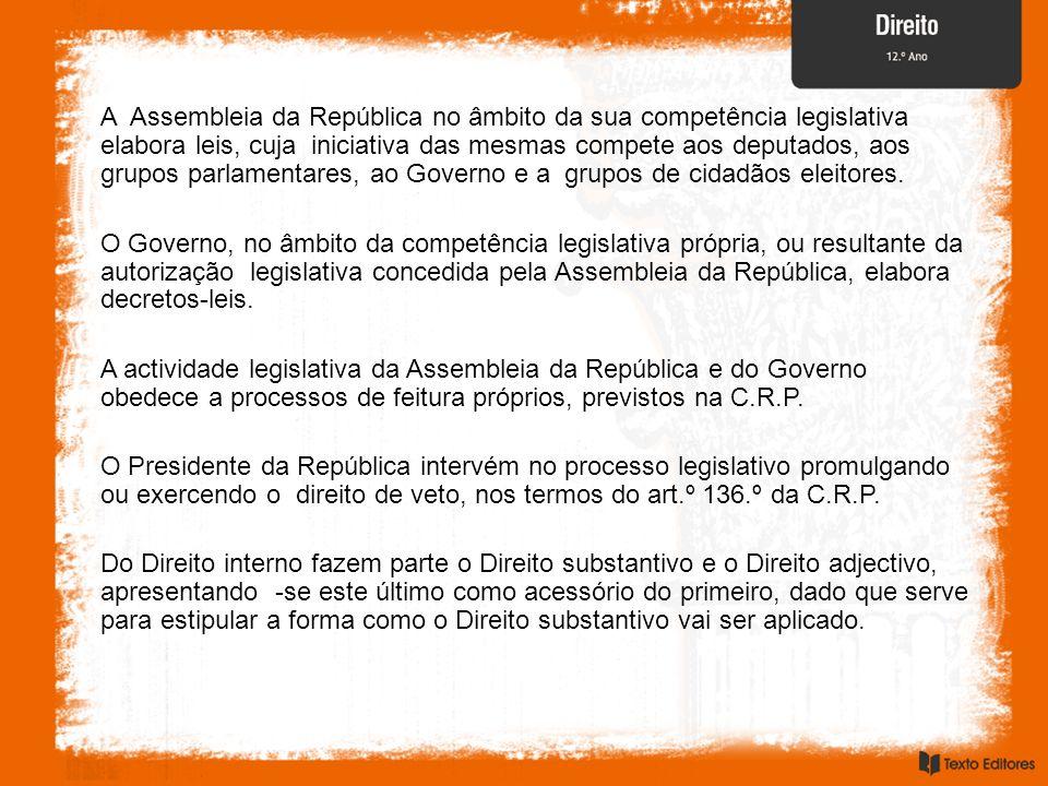 A Assembleia da República no âmbito da sua competência legislativa elabora leis, cuja iniciativa das mesmas compete aos deputados, aos grupos parlamen