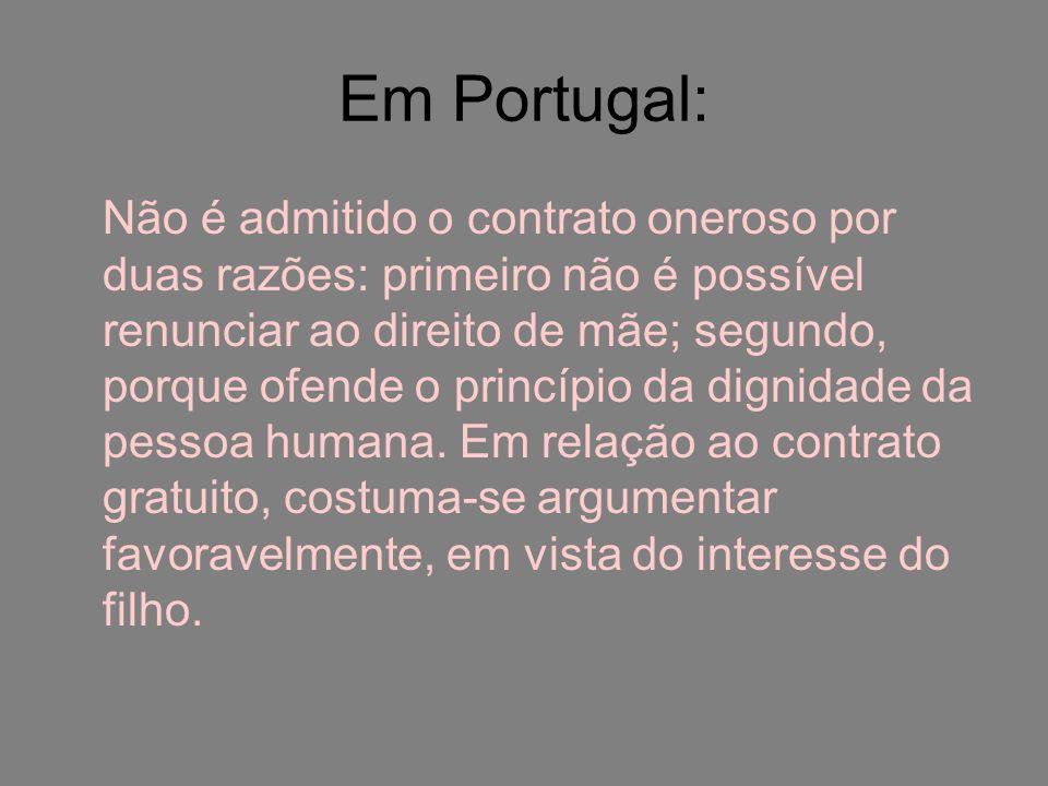 Em Portugal: Não é admitido o contrato oneroso por duas razões: primeiro não é possível renunciar ao direito de mãe; segundo, porque ofende o princípi