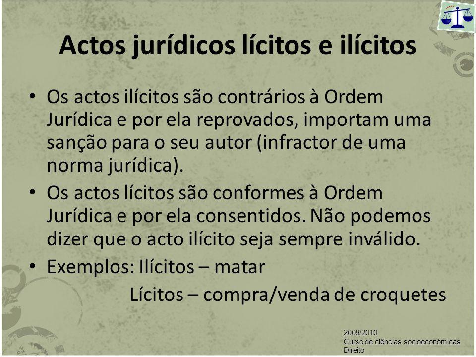 Acto jurídico É uma manifestação de vontade e como tal, a norma atribui-lhe efeitos de Direito. Só estamos na presença de um acto jurídico quando pens
