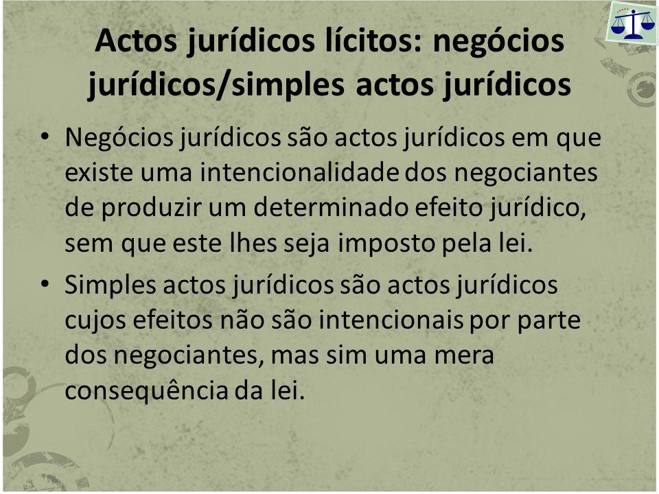 Actos jurídicos lícitos e ilícitos Os actos ilícitos são contrários à Ordem Jurídica e por ela reprovados, importam uma sanção para o seu autor (infra