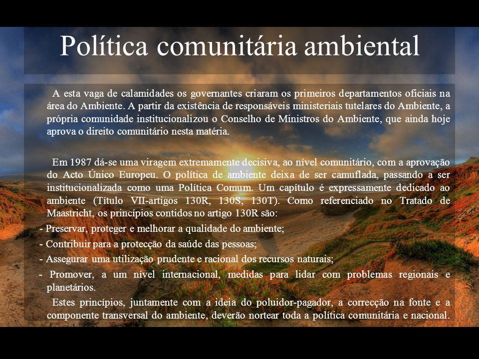 Política comunitária ambiental A esta vaga de calamidades os governantes criaram os primeiros departamentos oficiais na área do Ambiente. A partir da